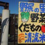 農産物直売所 野尻の里。味ある手書き看板と野菜たち【安中駅】