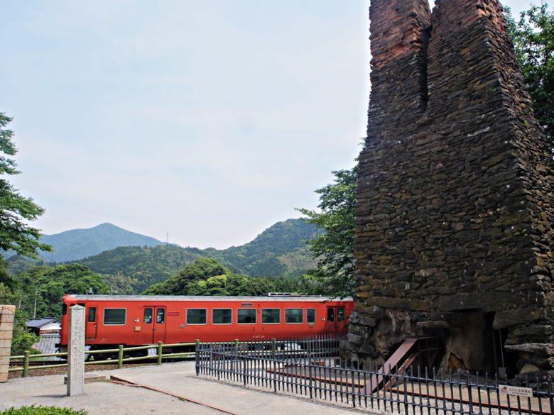 萩反射炉と電車